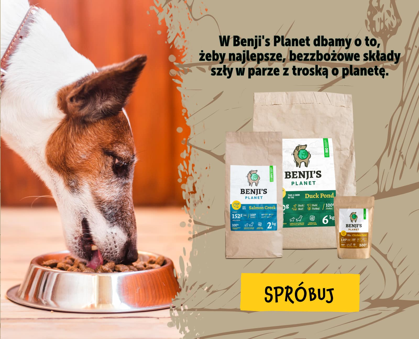 Suche karmy bezzbożowe dla psów Benji's Planet